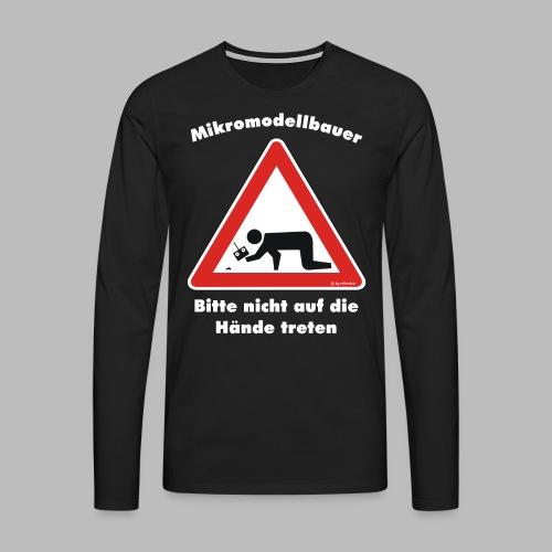 Mikromodell Warnschild Hände - weisse Schrift - Männer Premium Langarmshirt