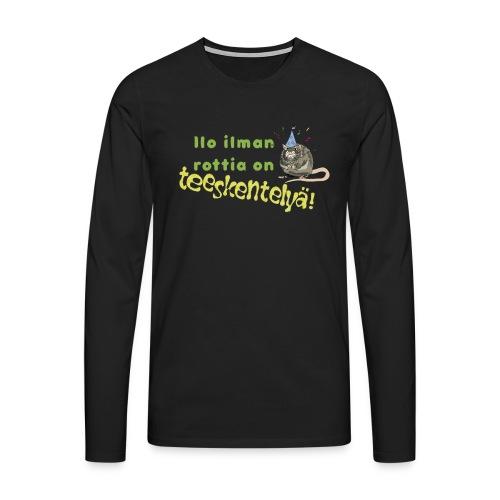 Ilo ilman rottia - kuvallinen - Miesten premium pitkähihainen t-paita