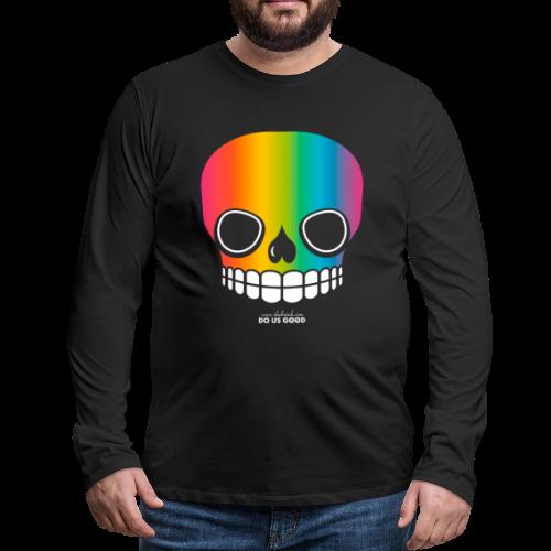 JUST SKULL rainbow - Miesten premium pitkähihainen t-paita