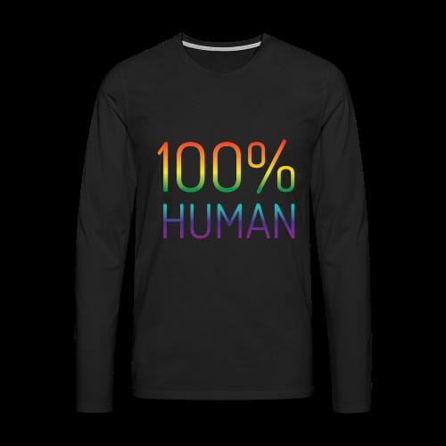 100% Human in regenboog kleuren - Mannen Premium shirt met lange mouwen