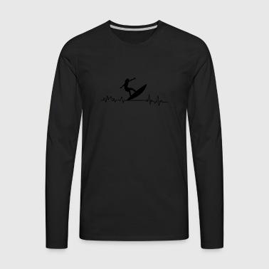 Heartbeat surfer T-shirt prezent Water - Koszulka męska Premium z długim rękawem