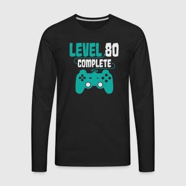80 urodziny Poziom Gamer 80 kompletny prezent - Koszulka męska Premium z długim rękawem