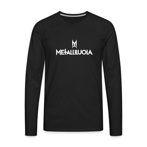 Metalliluola valkoinen logo - Miesten premium pitkähihainen t-paita