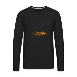 Happy Thanksgiving Words - Men's Premium Longsleeve Shirt