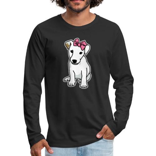Jack Russell mit Schleife, Comic, Hund, süß - Männer Premium Langarmshirt