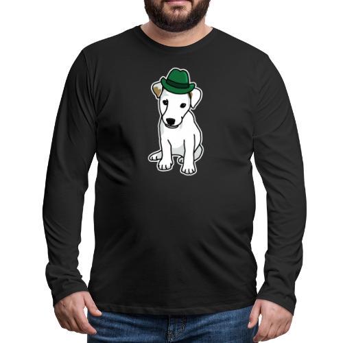 Jack Russell mit Hut, Hund, Comic, lustig, süß - Männer Premium Langarmshirt