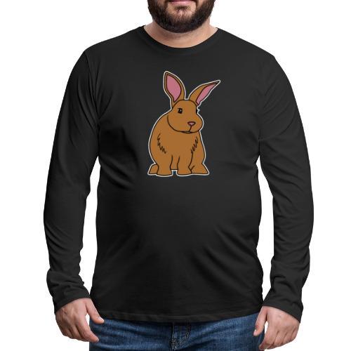 Hase, braun, süß, Comic, Geschenk, Kaninchen - Männer Premium Langarmshirt