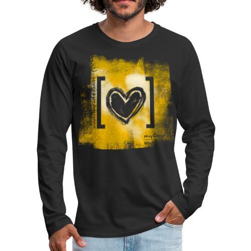 Herz / gelb - Männer Premium Langarmshirt