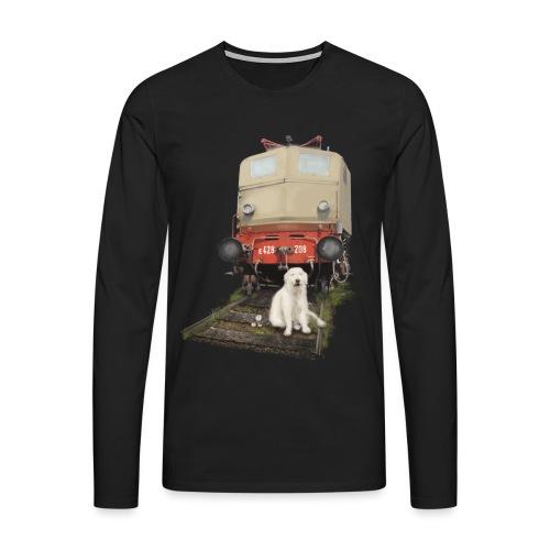 Golden Retriever with Train - Maglietta Premium a manica lunga da uomo