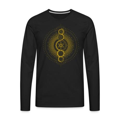 Sacred Geometry Metatron's Cube Gold Transcendence - Men's Premium Longsleeve Shirt