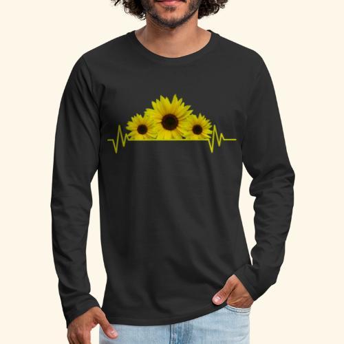 Sonnenblumen Herzschlag Sonnenblume Blumen Blüten - Männer Premium Langarmshirt