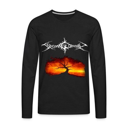 Silhouette of tree with logo white png - Men's Premium Longsleeve Shirt