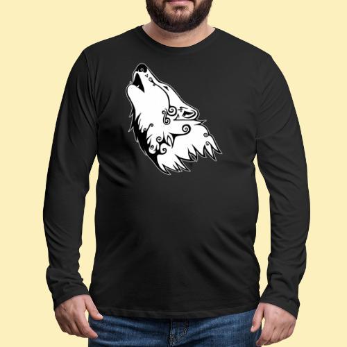 Le Loup de Neved (version contour blanc) - T-shirt manches longues Premium Homme