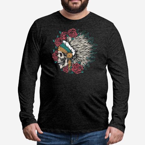 indian skull roses - Männer Premium Langarmshirt