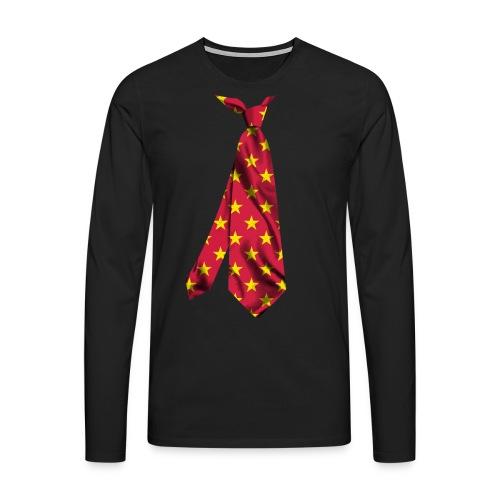 printed necktie yellow amish barn star - Maglietta Premium a manica lunga da uomo