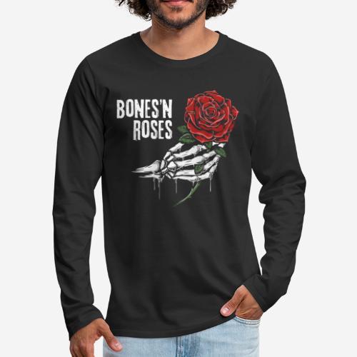 Schädelknochen Rosen - Männer Premium Langarmshirt
