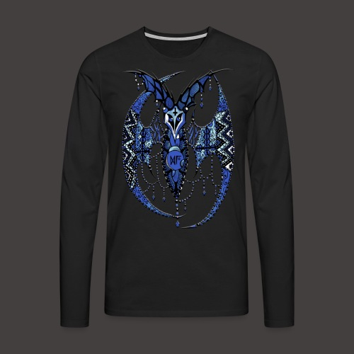 Chauve Souris Dentelle Bleue - T-shirt manches longues Premium Homme