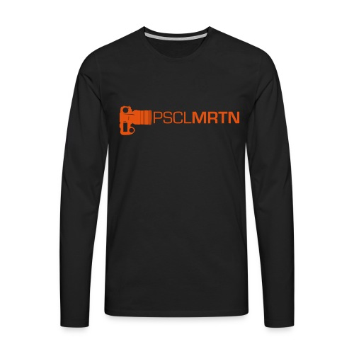 Black on Black with Orange Neck - Männer Premium Langarmshirt