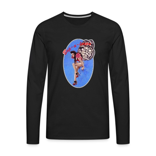 Vintage Rockabilly Butterfly Pin-up Design - Men's Premium Longsleeve Shirt