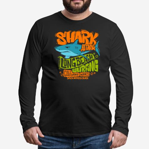 shark surf surfing california - Männer Premium Langarmshirt
