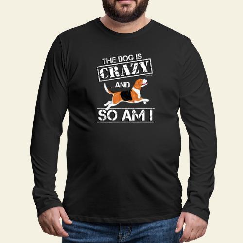 Beagle Crazy - Miesten premium pitkähihainen t-paita