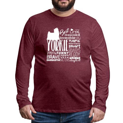 Yorkshire Terrier Words W - Miesten premium pitkähihainen t-paita