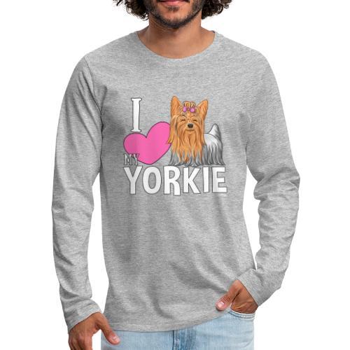I love my Yorkie - Miesten premium pitkähihainen t-paita