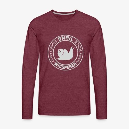 Snail Whisperer Grey - Miesten premium pitkähihainen t-paita