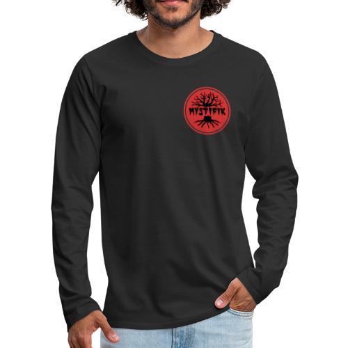 sort logo på rød baggrund med rød ring - Herre premium T-shirt med lange ærmer