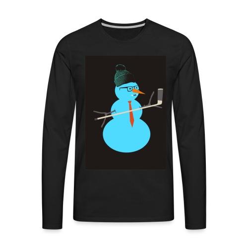 Hockey snowman - Miesten premium pitkähihainen t-paita