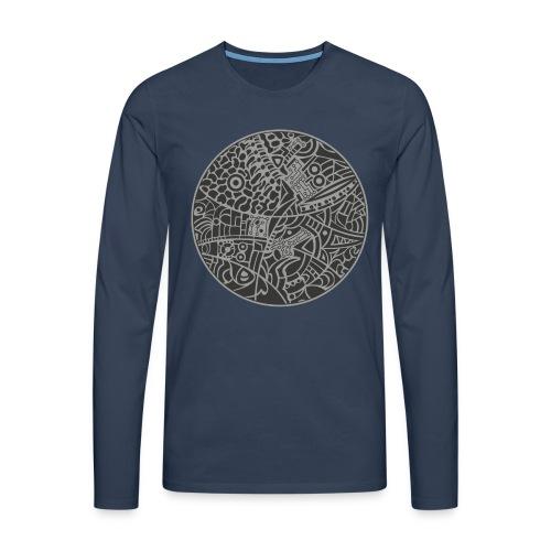 GlobeDesign-grey - Herre premium T-shirt med lange ærmer