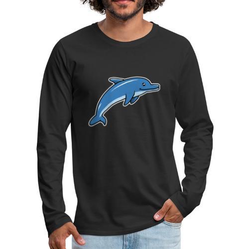 Delfin, Tier, Comic, süß, Kawaii - Männer Premium Langarmshirt