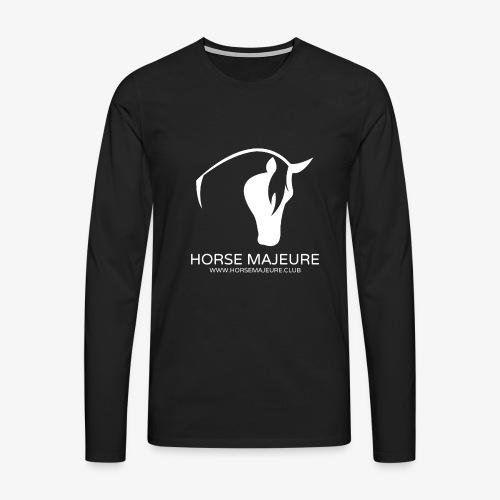 Horse Majeure Logo / Valkoinen - Miesten premium pitkähihainen t-paita