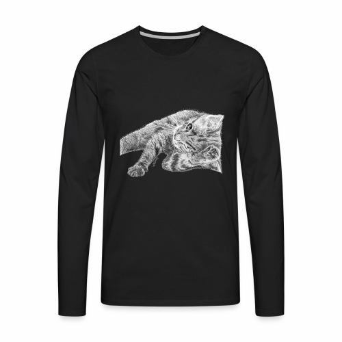 Small kitten in gray pencil - Men's Premium Longsleeve Shirt