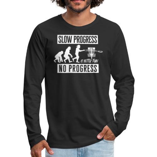 Disc golf - Slow progress - White - Miesten premium pitkähihainen t-paita