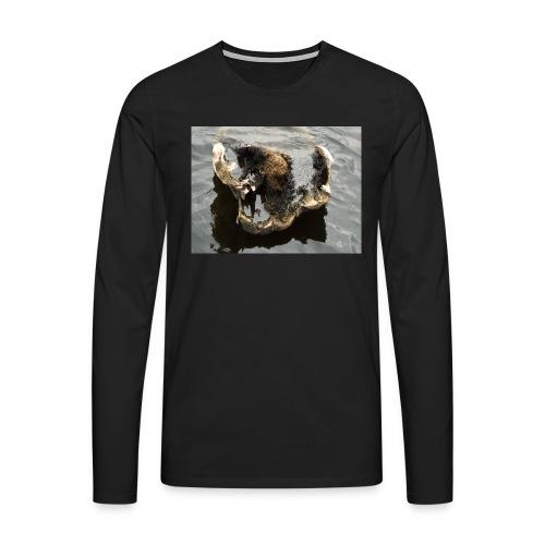 Tässä makaan ja muuta en voi - Miesten premium pitkähihainen t-paita