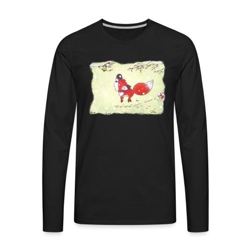 Hopsender Fuchs im Schnee - Männer Premium Langarmshirt