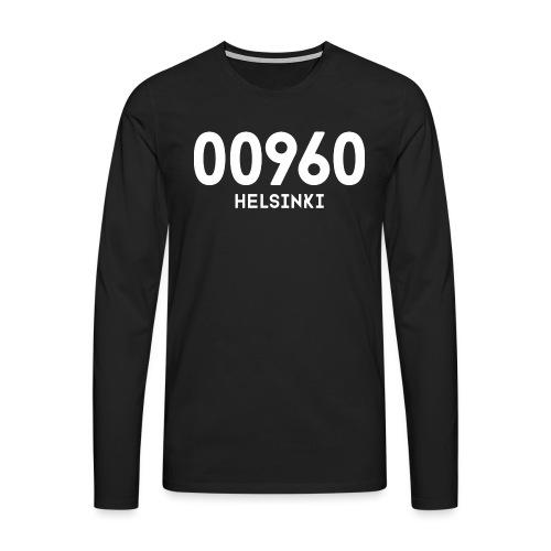 00960 HELSINKI - Miesten premium pitkähihainen t-paita