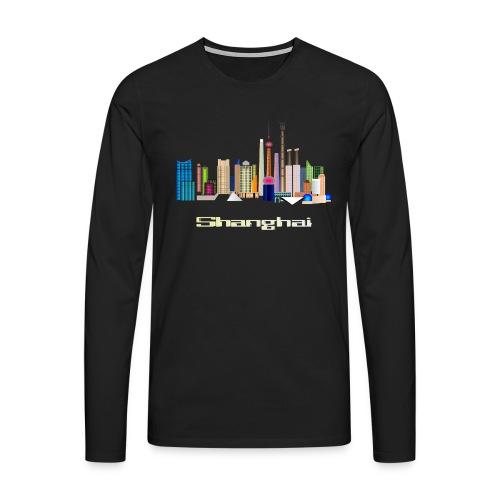 skyline Shanghai - Männer Premium Langarmshirt