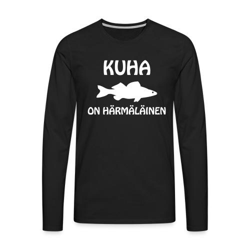 KUHA ON HÄRMÄLÄINEN - Miesten premium pitkähihainen t-paita