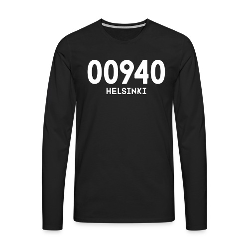 00940 HELSINKI - Miesten premium pitkähihainen t-paita