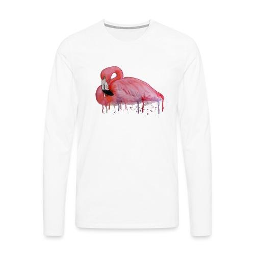 Pink Flamingo Watercolors Nadia Luongo - Maglietta Premium a manica lunga da uomo