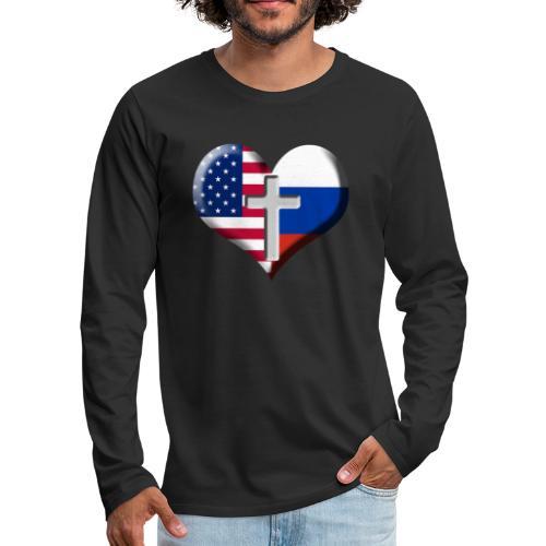 USA and Russia Heart with Cross - Men's Premium Longsleeve Shirt