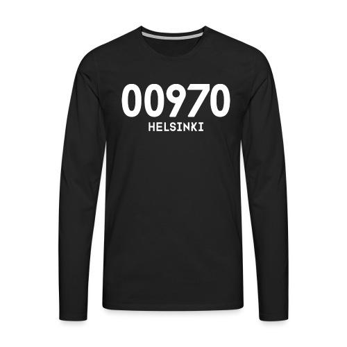 00970 HELSINKI - Miesten premium pitkähihainen t-paita