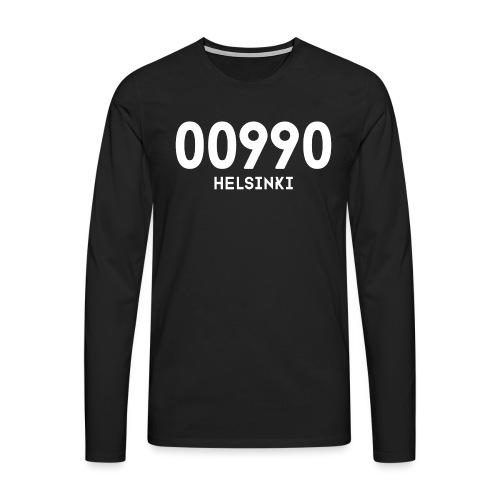 00990 HELSINKI - Miesten premium pitkähihainen t-paita