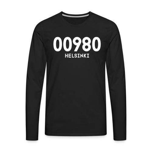 00980 HELSINKI - Miesten premium pitkähihainen t-paita