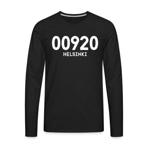00920 HELSINKI - Miesten premium pitkähihainen t-paita
