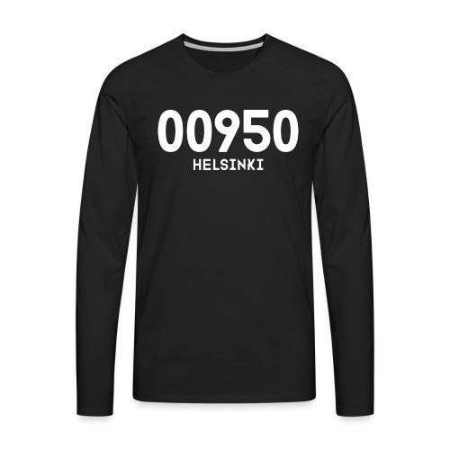 00950 HELSINKI - Miesten premium pitkähihainen t-paita
