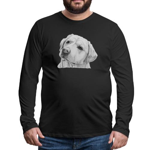 labrador retriever yellow - head - Herre premium T-shirt med lange ærmer