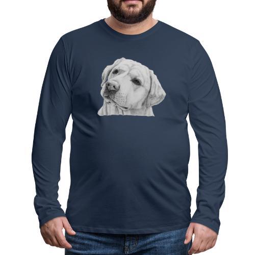 labrador retriever yellow - head - Herre premium T-shirt med lange ærmer